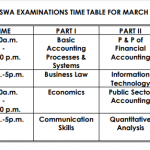 ICAN ATSWA March 2018 Examination Fees and Timetable